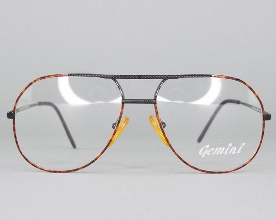 1980s Vintage Eyeglasses | 80s Glasses | Black Tortoise Eyeglass Frame | Dead Stock Eyewear - Gemini