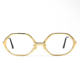 60s Glasses | Vintage Eyeglass Frame | Octagon Eyeglasses | Gold Geometric Glasses Frames - Mystery
