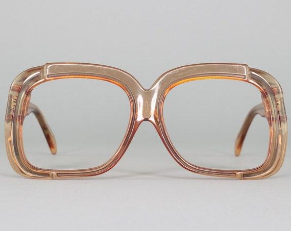 Vintage 1970s Glasses | Brown Clear 70s Eyeglasses | Oversized Eyeglass Frame | Deadstock Eyewear - WOF50-4