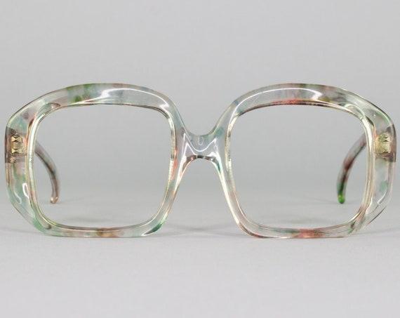 Vintage Eyeglasses | Oversized 70s Glasses | Clear Eyeglass Frame | Deadstock Eyewear - Debie Clear