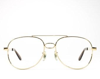 70s Vintage Eyeglasses | Aviator Glasses | 1970s Eyeglass Frame | Gold Aviator Frames - Sky King