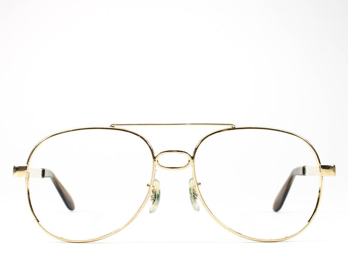70s Vintage Eyeglasses | Aviator Glasses | 1970s Eyeglass Frame | Gold Aviator Frames - Sky King