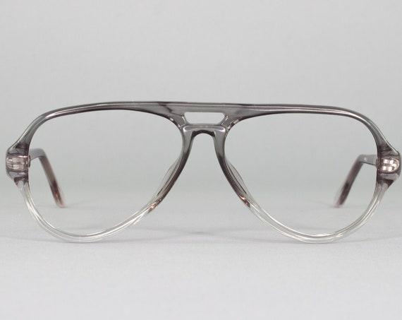 1980s Vintage Glasses | Clear Gray Aviator Eyeglass Frame | 80s Eyeglasses | 1980s Dead Stock - Richmond Grey Fade