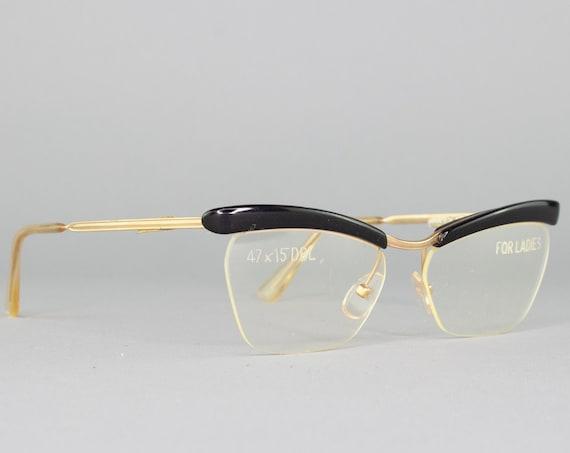 80s Vintage Eyeglasses | Cateye Glasses | 1980s Glasses Frames | Black Eyeglass Frame | Deadstock Eyewear - Amor Black