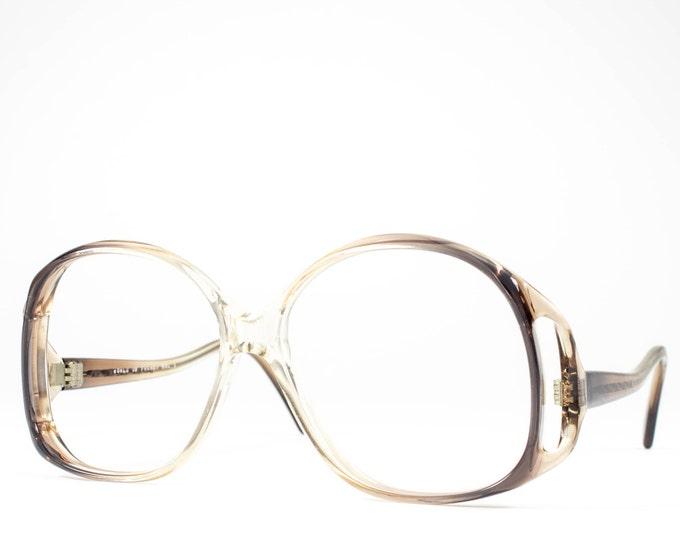 70s Eyeglasses | 1970s Vintage Glasses | Oversized Glasses Frames | Clear Brown Eyeglass | Seventies Deadstock Eyewear - Monta Carlo 1