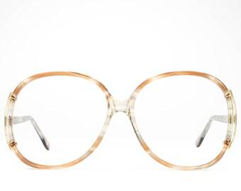 Vintage 80s Glasses | Oversized Eyeglasses | 1980s Glasses Frames | Beige Clear Eyeglass Frame - Regal 2