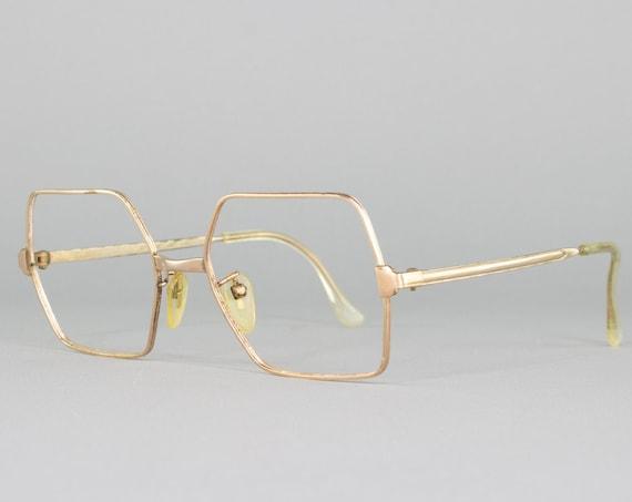 70s Eyeglasses   Square Vintage Glasses   1970s Glasses Frames   14k Gold Plated   Made in Italy   1970s Deadstock