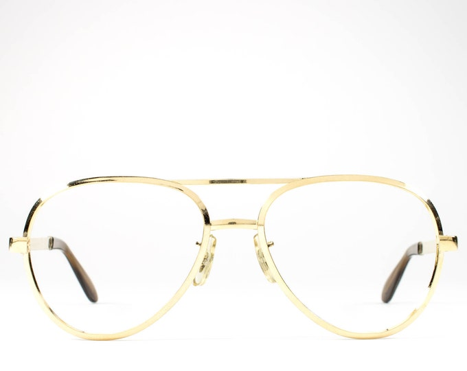 1970s Vintage Glasses | Aviator Eyeglass Frame | 70s Eyeglasses | Gold Eyeglass Frame - Dash Gold