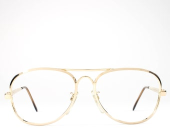 Vintage 80s Glasses | Aviator Glasses Frames | 1980s Eyeglasses | Gold Eyeglass Frame - Jailan Gold