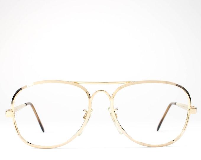 Vintage 80s Glasses | Aviator Glasses Frames | 1980s Eyeglasses | Gold Eyeglass Frame - Jailan Gold