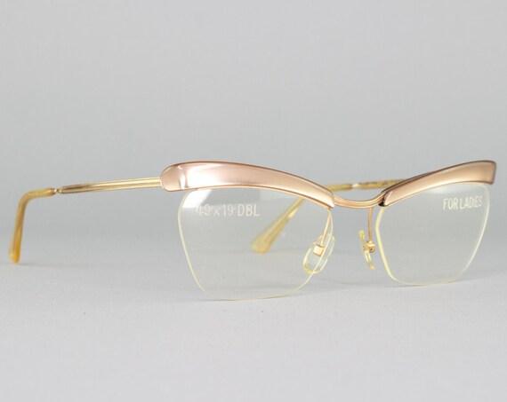 Vintage 80s Glasses | Cateye Eyeglasses | 1980s Glasses Frames | Beige Eyeglass Frame | Deadstock Eyewear - Amor