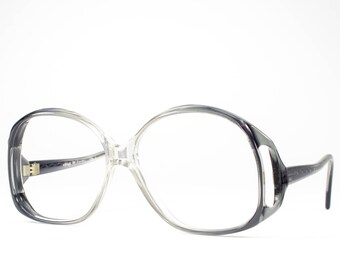 70s Eyeglasses   1970s Vintage Glasses   Oversized Glasses Frames   Clear Gray Eyeglass   Seventies Deadstock Eyewear - Monta Carlo