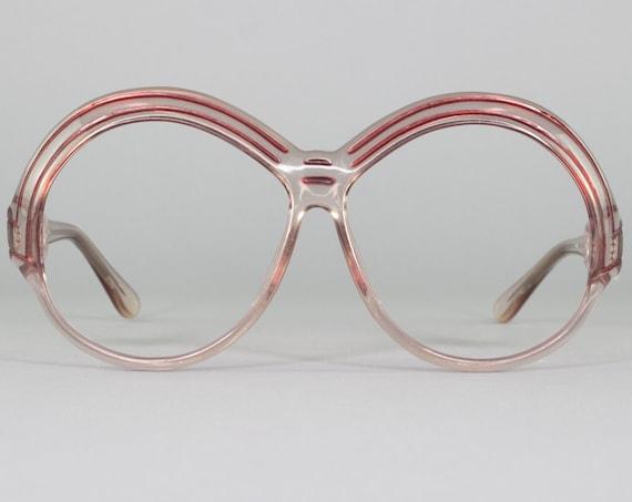 Round Vintage Eyeglasses | Oversized 70s Glasses | Clear Eyeglass Frame | 1970s Aesthetic | Deadstock Eyewear - WOF1020