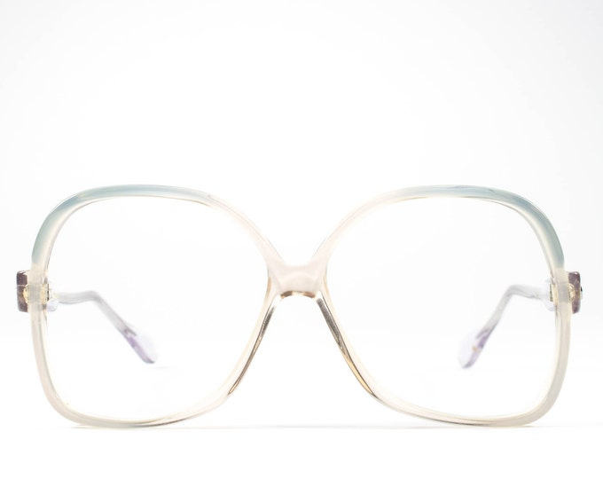 Vintage Eyeglasses | 70s Glasses | 1970s Oversized Glasses Frames | Clear Eyeglass Frame with Blue Accent - Lisa 3