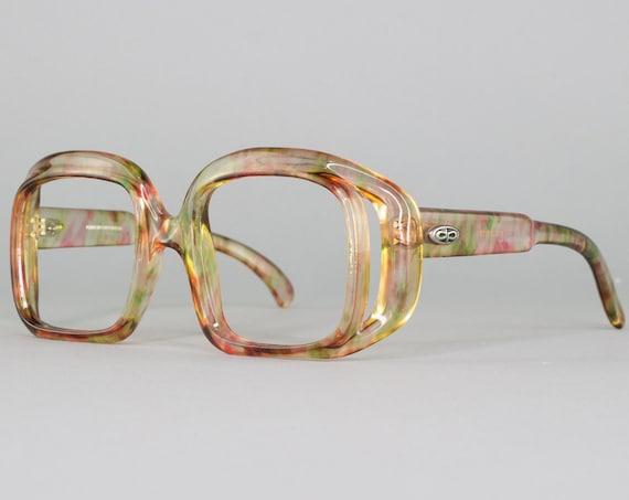 70s Vintage Eyeglasses | Oversized Glasses | Rainbow 1970s Eyeglass Frame | Deadstock Eyewear - Debie Rainbow
