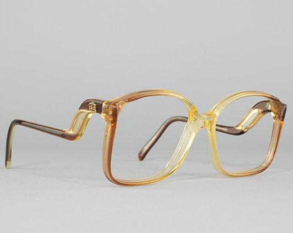 Square 80s Glasses   Vintage Eyeglass Frame   Brown Ombre Eyeglasses   1980s Aesthetic   Deadstock Eyewear - A La Mode