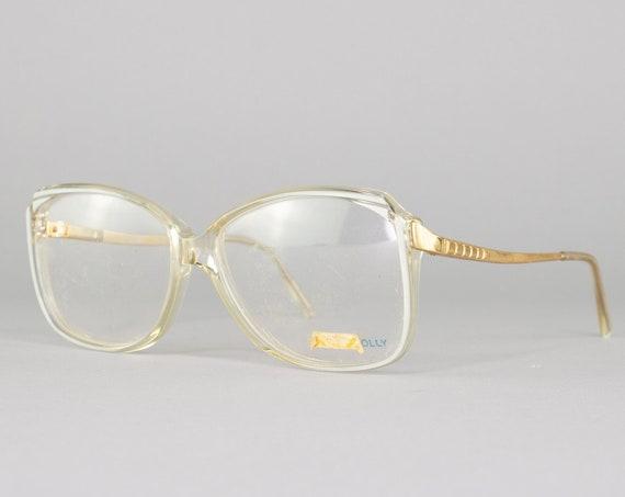 Vintage Eyeglasses   80s Glasses   Clear and Silver Frame   Square Eyeglass Frame   Deadstock Eyewear - Molly