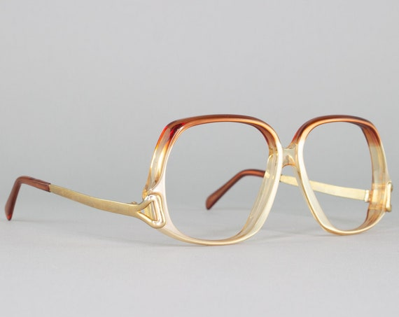 Vintage Eyeglass Frame   80s Aesthetic Glasses   Brown Ombre Eyeglasses   1980s Frames   Vintage Deadstock - Cinderella