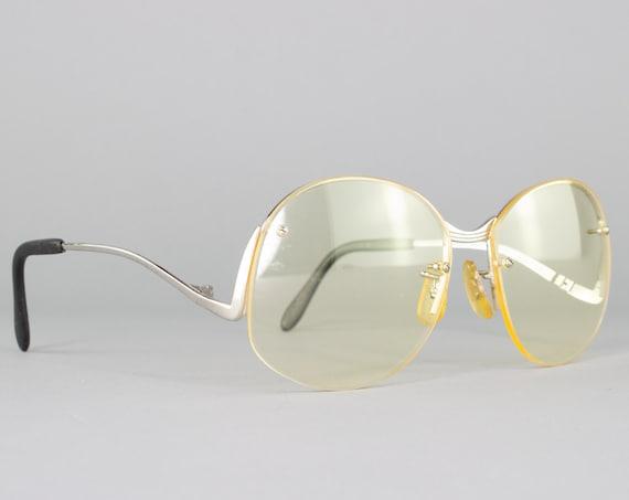 1970s Vintage Eyeglass Frame | 70s Glasses | Round Yellow Eyeglasses | Deadstock Eyewear - Downtown