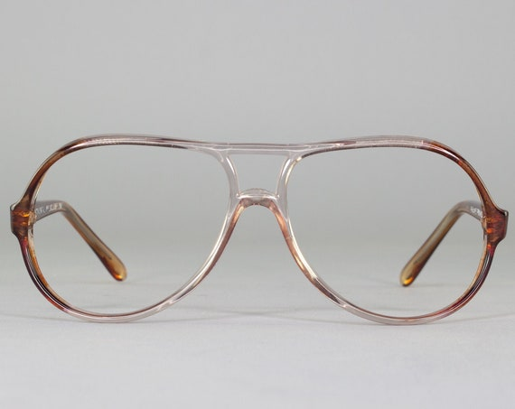 80s Glasses |Vintage Eyeglasses | Clear Brown Aviator Eyeglass Frame | 1980s Aesthetic - Exclusif 292D