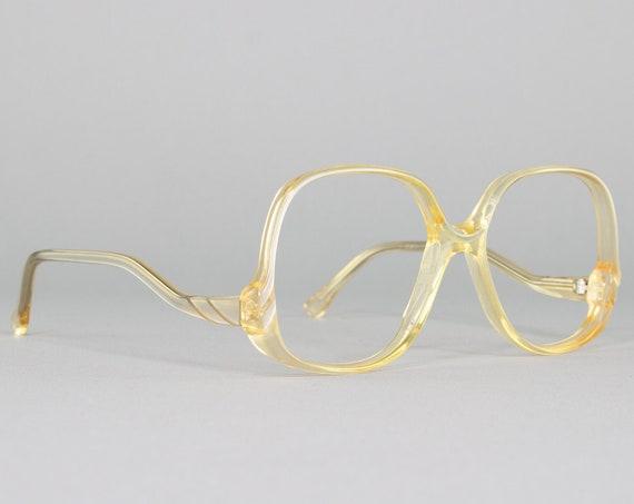 80s Glasses | Vintage Eyeglasses | Clear Beige Eyeglass Frame | 1980s Aesthetic | Vintage Deadstock Eyewear - Cleary