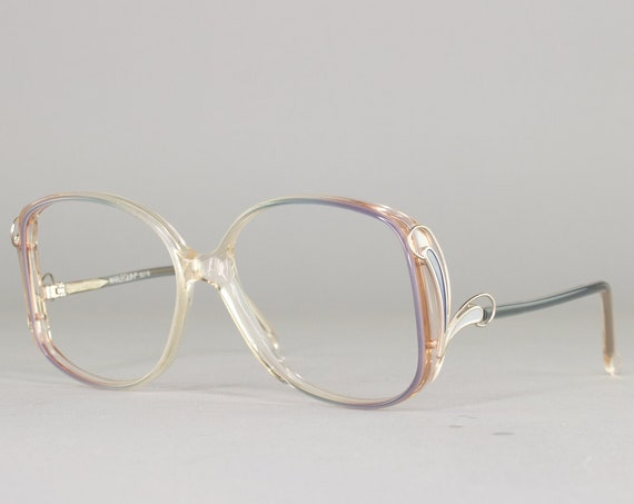 Oversized 80s Glasses | Vintage Eyeglasses | 1980s Grey and Blue Frames | Clear Eyeglass Frame | Deadstock Eyewear - Harlequin Grey Fawn
