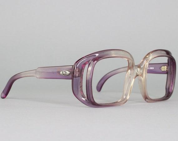 Purple 1970s Eyeglasses | Round 70s Glasses | Vintage Oversized Glasses Frames | Deadstock Eyewear - Debie Purp