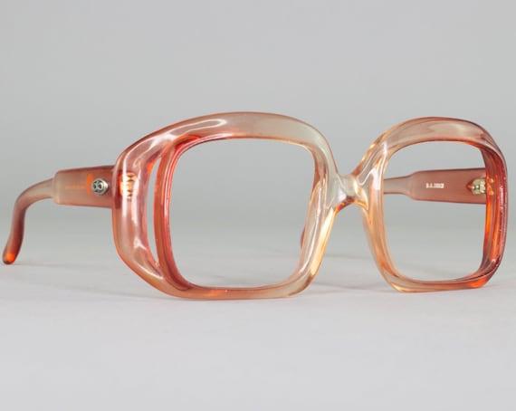 Red 70s Eyeglasses   Square Vintage Glasses   1970s Oversized Glasses Frames   1970s Deadstock - Debie Red