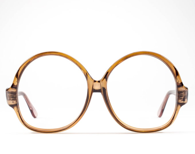 1970s Oversized Glasses Frames | 70s Glasses | Vintage Eyeglasses | Brown Clear Eyeglass Frame - WOF1070