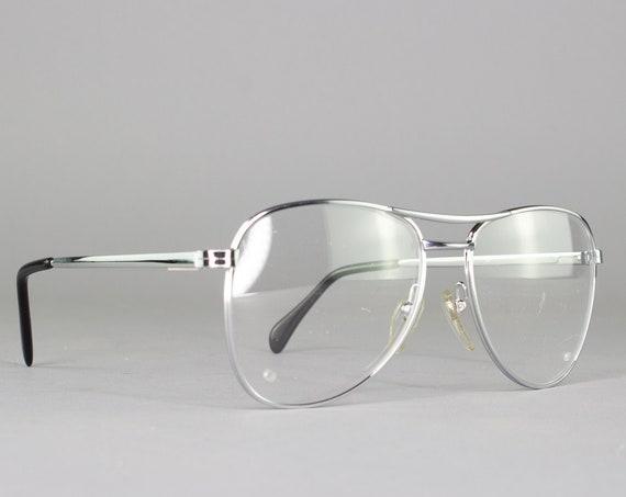 Vintage Eyeglasses | 80s Glasses | Silver Aviator Eyeglass Frame | 1980s Aesthetic - Arise