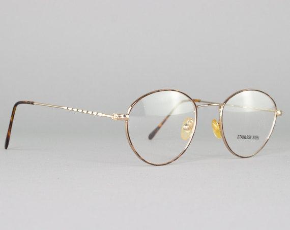 90s Eyeglasses | Round Vintage Glasses | Tortoiseshell Eyeglass Frames | 1990s Aesthetic | Vintage Deadstock - SQ40