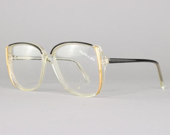80s Glasses | Clear & Black Vintage Eyeglasses | 1980s Eyeglass Frame | Deadstock Eyewear - Stacy