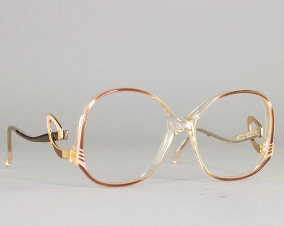 80s Glasses | Vintage Oversized Eyeglasses | 1980s Eyeglass Frame | Deadstock Eyewear - Harlequin Walnut
