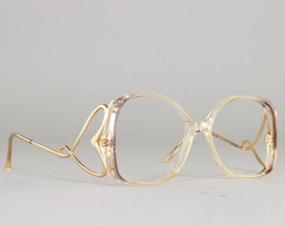 1980s Vintage Eyeglasses | Oversized 80s Glasses | Clear Purple Eyeglass Frame | Deadstock Eyewear - Harlequin Lav