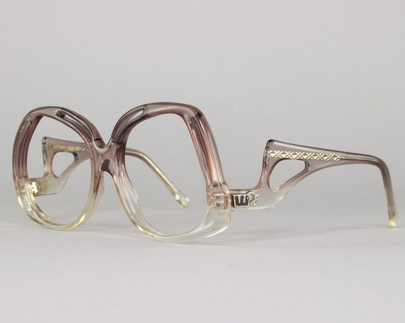 70s Vintage Eyeglasses | Clear Gray Eyeglass Frame | Oversize Rounded Cutout Glasses | 1970s Deadstock Eyewear - Vegas