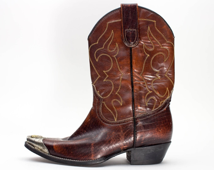 Vintage Cowboy Boots | Silvertip Boots with Horse Head Detail | Leather Boots | Size US Women's 6.5  EU 37  UK 4.5