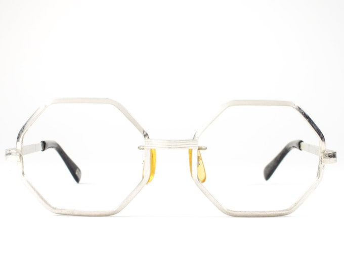 Vintage 70s Glasses | 1970s Eyeglasses | Octagon Glasses Frames | Silver Eyeglass Frame - Stopper