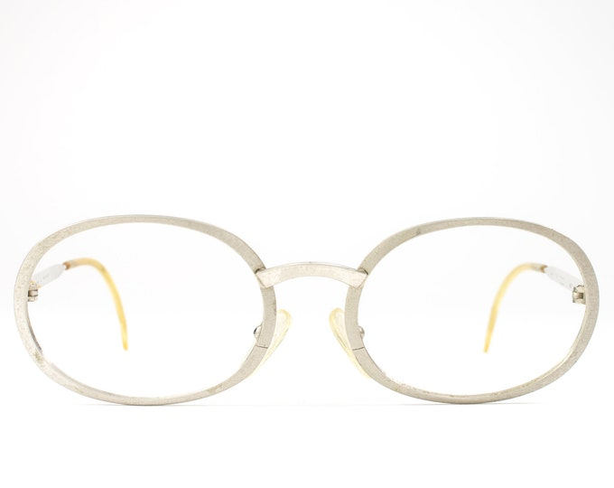 Vintage 60s Glasses | 1960s Round Eyeglasses | Oval Glasses Frames | Silver Eyeglass Frame - Essel