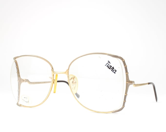 Unique Vintage Eyeglasses | 1980s Oversized Glasses Frames | 80s Glasses | Half Rim Eyeglass Frame with Taupe Accent - Cynthia