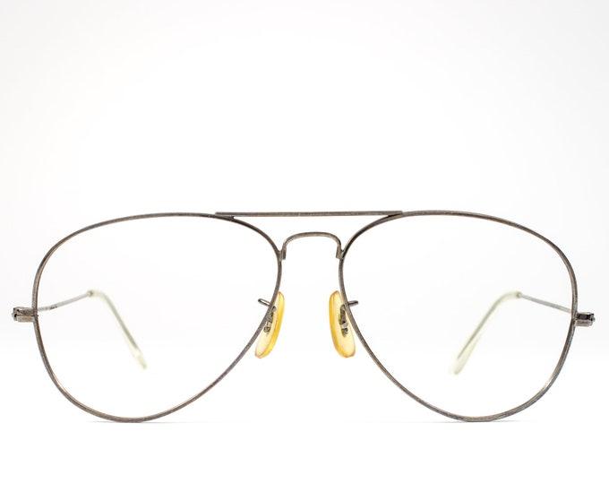 Black Vintage Eyeglasses | 80s Glasses | 1980s Aviator Glasses Frames | Lightweight Gunmetal Eyeglass Frame - Hayate