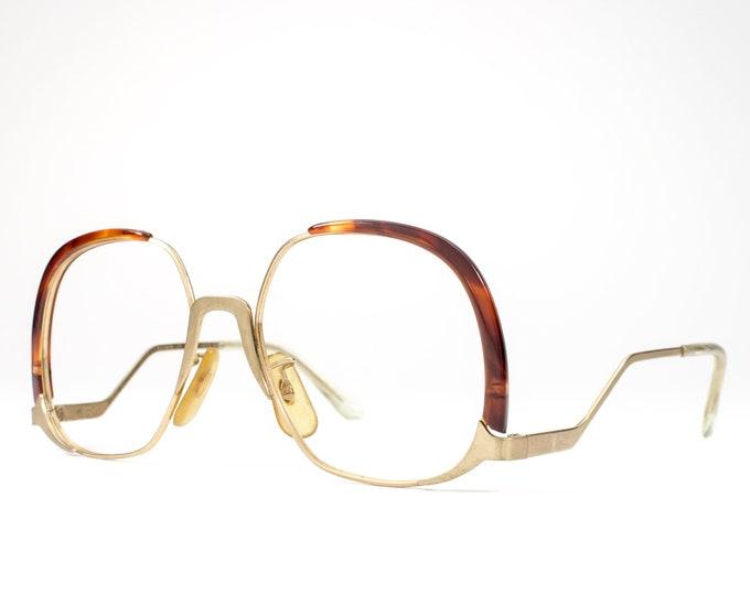 Vintage Eyeglasses | 70s Glasses | 1970s Oversized Glasses Frames | Gold Eyeglass Frame with Tortoise Accent - Summer