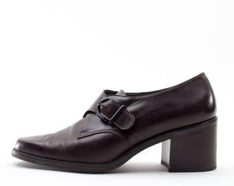90s Vintage Shoes   Brown Leather Monkstrap   Size US Women's 7.5  Euro 38  UK 5.5