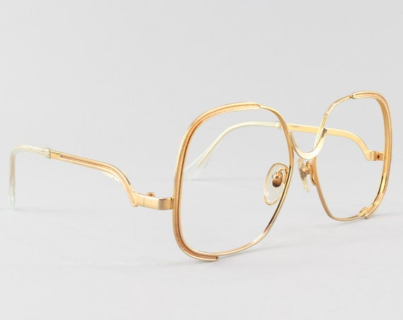 Vintage Eyeglass Frame | Gold & Sparkling Brown | Oversized Round Glasses - Shadow