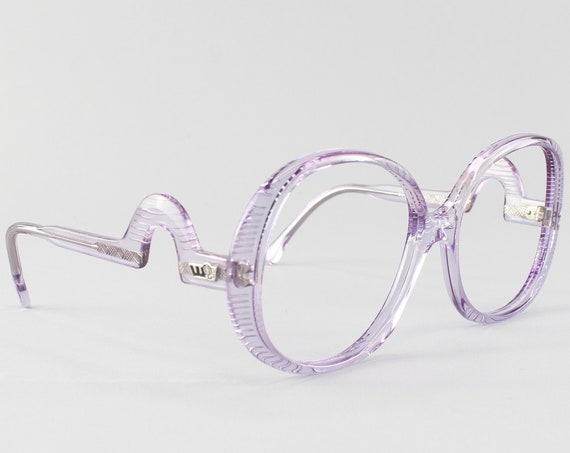 Vintage Eyeglasses | Oversized 70s Glasses | Clear Purple Eyeglass Frame | Deadstock Eyewear - Grenoble 2