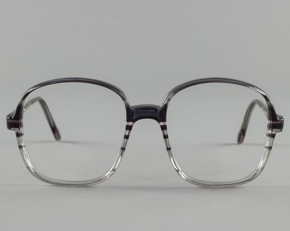 Vintage Eyeglass Frame | Oversized Clear Grey Stripe | 80s Glasses Frames | Vintage Deadstock - Oxford 3