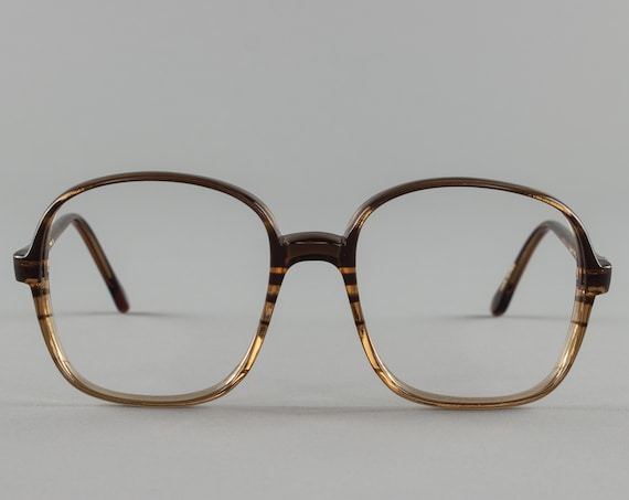 80s Vintage Eyeglass Frame | Clear Brown Stripe Glasses | Eyeglasses | Deadstock Eyewear  - Oxford 1