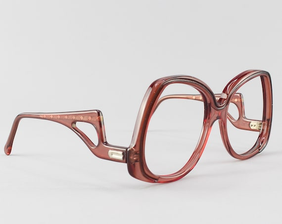 Vintage Eyeglasses | Oversized 70s Glasses | Clear Brown Frame - Dynasty 494