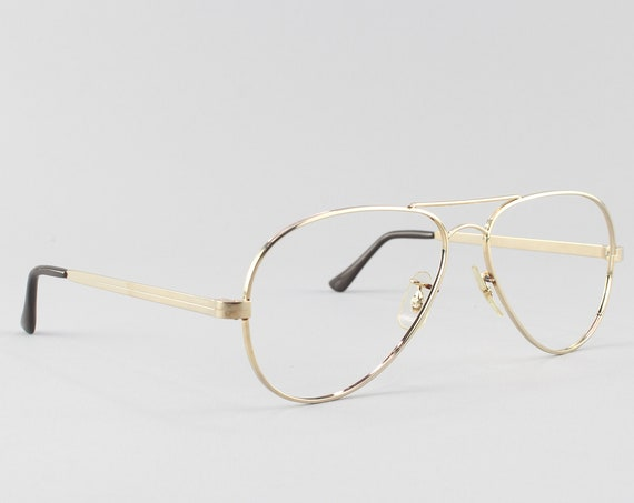80s Vintage Eyeglasses | Aviator Glasses | 1980s Eyeglass Frame | Gold Aviator Frames - Madison Gold