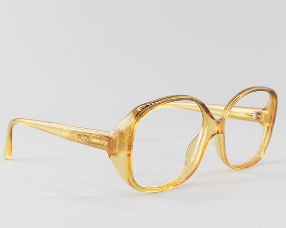 70s Eyeglasses | Vintage Glasses | 1970s Look | Yellow Oversized Round Frame - 3062