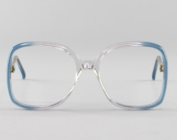 70s Glasses | Vintage Eyeglasses | Clear Blue Glasses Frames | 1970s Aesthetic - Genova 9918